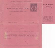 20796# ENTIER POSTAL CARTE LETTRE CHAPLAIN CARTE PNEUMATIQUE AVEC REPONSE PAYEE 1 Franc NOIR SUR ROSE L22 NEUF - Pneumatiques