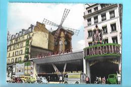 """75-----PARIS---Place Blanche--"""" Le Moulin Rouge """"--( Voitures COX + 4CV + 2 CV + HY )---voir 2 Scans - Markten, Pleinen"""