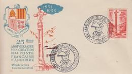 Enveloppe  ANDORRE   25éme  Anniversaire  De  La  Poste  Française  1956 - Lettres & Documents