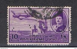 EGITTO - VARIETA':  1947  P.A. DEFINITIVA  -  10 C. VIOLETTO  US. -  PERFIN  -  YV/TELL. 34 - Posta Aerea
