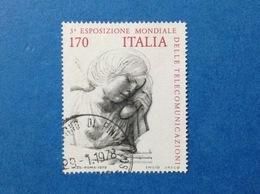 1979 ITALIA ESPOSIZIONE MONDIALE TELECOMUNICAZIONI 170 LIRE DISEGNO DI EMILIO GRECO FRANCOBOLLO USATO ITALY STAMP USED - 6. 1946-.. Repubblica