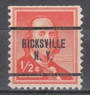 USA Precancel Vorausentwertung Preo, Locals New York, Hicksville 259, Perf. Defect - Vorausentwertungen