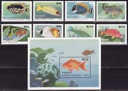 Maldives, 1989, Fish 8 Stamps+block - Poissons