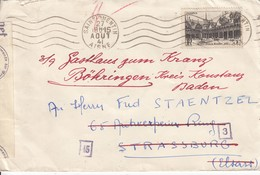 Env Affr Y&T 499 Obl ST QUENTIN Du 27 AOUT 41 Adressée à Strassburg Avec Censure - Poststempel (Briefe)