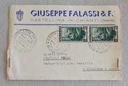 """Cartolina Postale Con Testata Pubblicitaria """"Giuseppe Falassi & F."""" Castellina In Chianti Per Stazzema (LU) - 19/11/1952 - 6. 1946-.. Repubblica"""