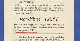 Faire Part De Décès Jean Pierre Tant Bruges Blankenberge - Esquela