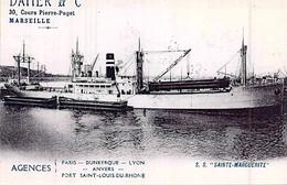 """Photo Bateau  """" Sainte Marguerite """" Daher 1913 A C F Dunkerque 1915 Torpillé Transport En Temps De Guerre Ww1 - Reproducciones"""