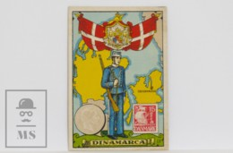 Antique Trading Card - 11, Denmark. Country, Flag, Soldier, Coin & Stamp - Other
