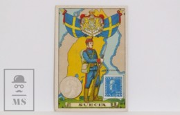 Antique Trading Card - 16, Sweden. Country, Flag, Soldier, Coin & Stamp - Other