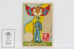 Antique Trading Card - 17, Norway. Country, Flag, Soldier, Coin & Stamp - Other