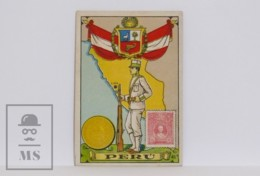 Antique Trading Card - 45, Peru. Country, Flag, Soldier, Coin & Stamp - Old Paper