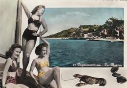 CUPRAMARITTIMA-ASCOLI PICENO-LA MARINA-3 PIN UP-CARTOLINA VERA FOTOGRAFIA- VIAGGIATA IL 24-8-1962 - Ascoli Piceno