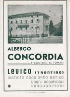LEVICO-TRENTO-ALOBERGO=CONCORDIA=BROCHUREDI 4 FOGLI FORMATO CARTOLINA (CM 15 X 10 CIRCA-ANNO 1955-1960 - Trento