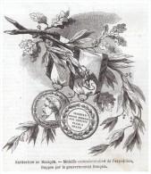 Gravure 1863 Medaille Commémorative De L Expedition Du Mexique  Cumbres   Cerro   Borrego San Lorenzo  Puebla Mexico - Non Classificati