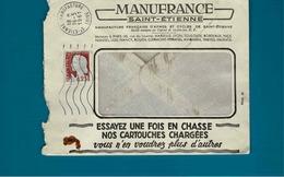 OBL ST Etienne Manufacture,Marianne De Decaris Sur Enveloppe Manufrance Saint Etienne,pub Chasse Et Cartouches - 1961-....