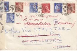 Env Affr Y&T 407 X 2 + 412 + 477 X 2 + 482 X 2 Obl ST QUENTIN Du 3 JANV 42 Adressée à Strassburg Avec Censure - Postmark Collection (Covers)