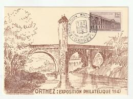 1947 N°780 UPU Oblitéré Sur Carte Exposition Philatélique Orthez  1947 (lot 264) - Oblitérés