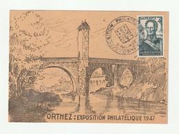 1944 N°662 Bugeaud Oblitéré Sur Carte Exposition Philatélique Orthez 1947(lot 605) - Oblitérés