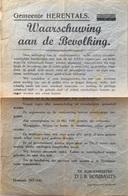 HERENTALS - Waarschuwing Aan De Bevolking - Pamflet 29-7-1941 - Burg. Rombauts - Vandalenstreken - 1939-45