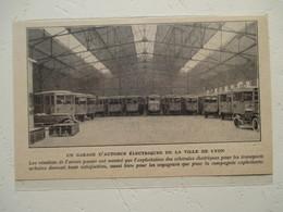 Garage D'Autobus Electrique De La Ville De Lyon   - Coupure De Presse De 1926 - Camions