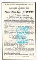 DP Pieter Th. Victoor 21j. ° Ieper 1913 † 1935 X Suzanne Malbrancke / G. Gezelle - Andachtsbilder