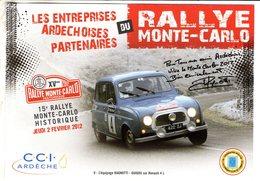 Rallye Monte-Carlo Historique 2012  -  Renault 4L - L'equipage Ragnotti/Guigou  -  CPM - Rallyes