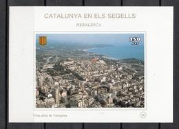 CATALUNYA EN ELS SEGELLS - HOJITA Nº 98 - VISTA AEREA DE TARRAGONA - Fogli Ricordo