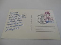 CHARLES DE GAULLE MEILLEURS VOEUX DE SPM 24/12/90 975 SAINT PIERRE PHILATELIE - Postal Stationery