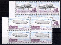 RC 16376 St PIERRE ET MIQUELON COTE 30,40€ N° 66 / 67 ZEPPELIN ET DOUGLAS DC3 BLOCS DE 4 NEUF ** TB MNH VF - Unused Stamps