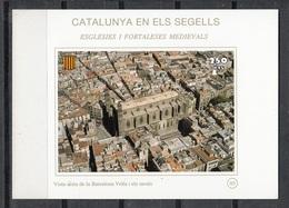 CATALUNYA EN ELS SEGELLS - HOJITA Nº 95 - VISTA AEREA DE LA BARCELONA VELLA I RAVALS - Fogli Ricordo