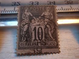 Timbre Sage 10c (type 2) Noir Sur Lilas Yvert & Tellier – Arthur Maury N°89 - 1876-1898 Sage (Type II)