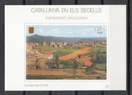 CATALUNYA EN ELS SEGELLS - HOJITA Nº 87 - LA NATIVITAT D'AVIÀ - Fogli Ricordo