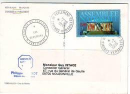 MARCOPHILIE . CACHETS COMMEMORATIFS . VERSAILLES CONGRES DU PARLEMENT 19.02.1996 . CACHET LES QUESTEURS Sur C.P. - Temporary Postmarks