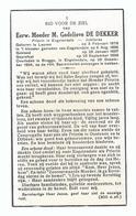 DOODSPRENTJE EERW. MOEDER G. DE DEKKER PRIORIN IN ENGELENDALE JUBILARIS ° LEUVEN 1878 + BRUGGE 1954 - Images Religieuses