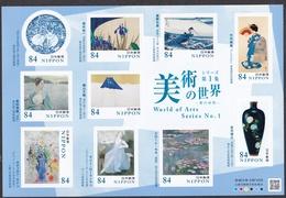 (ja1392) Japan 2020 World Of Arts No.1 84y MNH Hokusai Redon Laurencin Monet - Ongebruikt