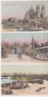 27492 Trois 3 Cpa MARSEILLE Colorisée Cathedrale Messageries Joliette Quai Vieux Port -Giletta 1878, 1879, 23 Lacour - Marseille
