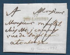 Tarn -   77 / PUY LAURENS  Sur Lettre Du 7 Janvier 1792 - Marcophilie (Lettres)
