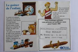 Petit Calendrier 1986 Offert Par  Boulangerie Boulet Chaussin 39 - Calendriers