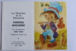 Petit Calendrier 1986 Offert Par Parking Mazarine Paris - Calendriers