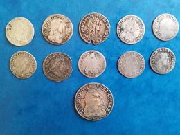 ROYALES LOUIS XIV LOT DE 11 MONNAIES : 1/4 D'ECU AUX HUIT L Et 1/12ième D'ECU + SOLS DES TRAITANTS DIVERS - 987-1789 Monnaies Royales