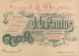 260320 - CARTE DE VISITE 46 CAHORS MAISON J B DELPECH JL PAULUS 18 Rue De La Liberté La Divona Liqueur Brou Noix - Cahors