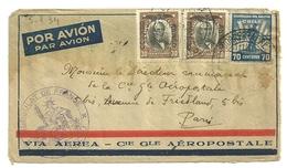 CHILI LETTRE PAR AVION DU CONSULAT DE FRANCE AEROPOSTALE EN 1934 NOMBREUX POSTE AERIENNE - Chili