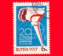 RUSSIA - Usato - 1965 - 20° Anniversario Della Federazione Giovanile Democratica Mondiale - Torcia - 6 - 1923-1991 USSR