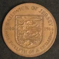 JERSEY - 1/12 SHILLING 1966 - Bataille D'Hastings - Elizabeth II - KM 26 - ONE·TWELFTH·OF·A·SHILLING - Jersey
