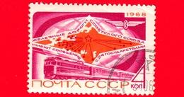 RUSSIA - Usato - 1968 -  Mappa Ferroviaria Dell'Unione Sovietica E Treno - 4 K - 1923-1991 USSR