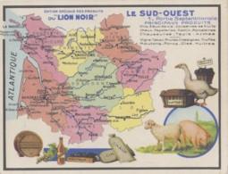 Régions - Sud-Ouest - Géographie Gastronomie - Vin - Huîtres - Elevage Cochon Mouton - Publicité Lion Noir Chromo - Aquitaine