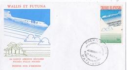 WALLIS ET FUTUNA  :  FDC PA 62 1ère Liaison Nouméa-Wallis-Nouméa Oblitération Mata-Utu 1975 - Lettres & Documents