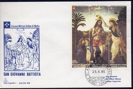 SMOM - 1985 - San Giovanni Battista Patrono Dell'ordine Unif. 238/40  Serie Cpl. 3v. In Trittico Su Busta FDC Perfetto - Sovrano Militare Ordine Di Malta