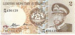 LESOTHO 2 MALOTI 1979 PICK 1a AU/UNC RARE - Lesotho