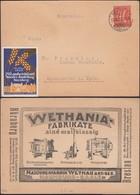 Germany - Werbepostkarte, WETHANIA - NAUMBURG. Reklamemarke, 29. Landwirtschaftliche Wander-Ausstellung Nürnberg 1922. - Allemagne